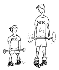 Bonnie drawing of wanna-be weight lifters