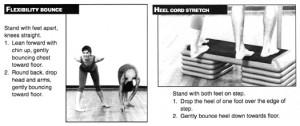 Bonnie Prudden's flexibility bounce + heel cord stretch exercises
