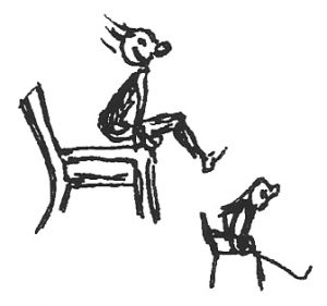 Bonnie prudden drawing - arm lifts chair exercise