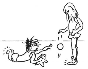 drawing of children with a ball
