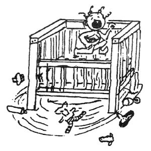 drawing of a child in a playpen