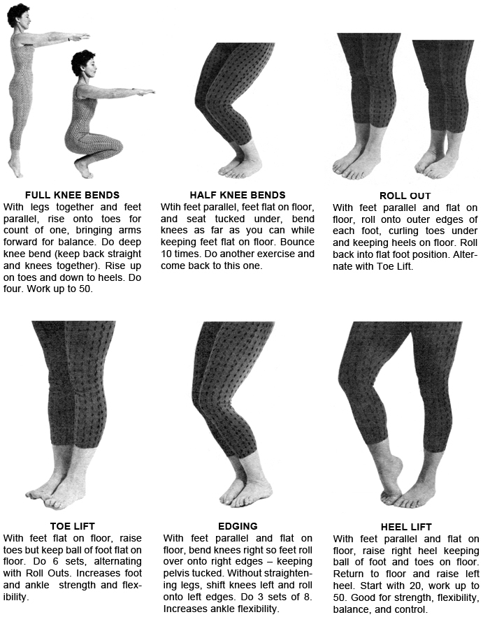 Exercises - full knee bends, half knee bends, roll out, toe lift, edging, heel lift
