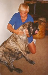 Bonnie giving myotherapy to her dog