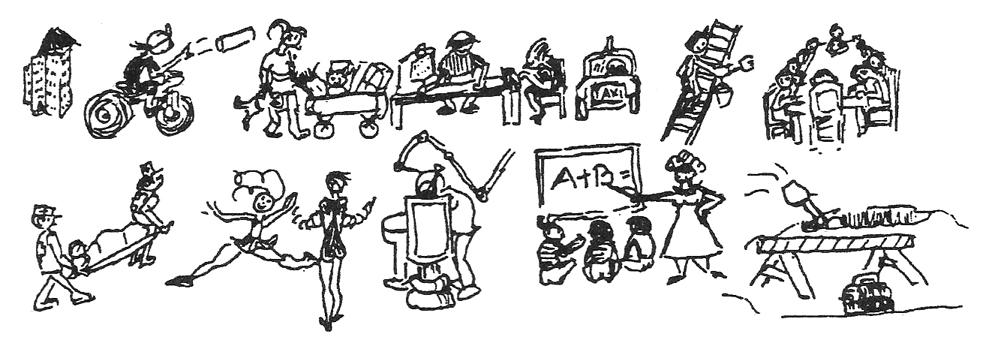 Bonnie Prudden drawing of various careers