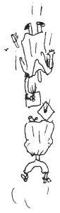 Bonnie Prudden drawing of graduates falling