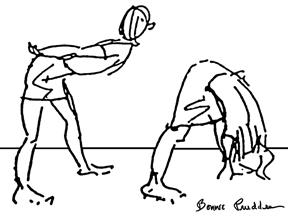 Flexibility Bounce - drawing by Bonnie Prudden