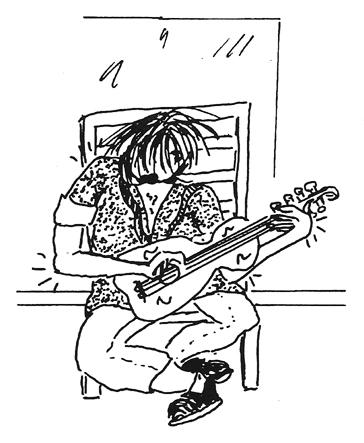 Guitarist drawing by Bonnie Prudden