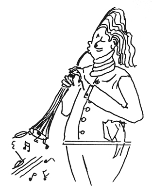 Horn player drawing by Bonnie Prudden