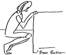 Deep Knee Bends - drawing by Bonnie Prudden