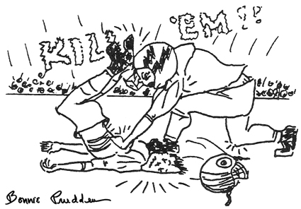 Injuries on the Football Field - drawing by Bonnie prudden