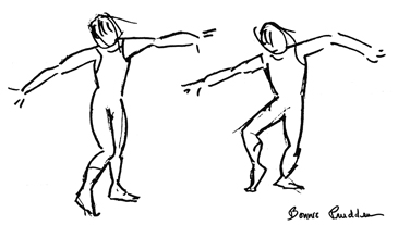 Hip Rotation - drawing by Bonnie Prudden
