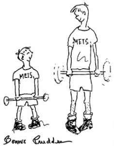 father and son exercise together - drawing by Bonnie Prudden