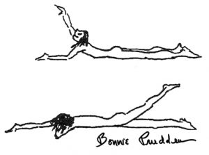 Prone Arm & Leg Lifts - drawings by Bonnie Prudden